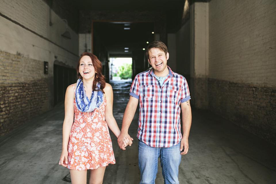 I chose to go bold with colors and patterns for our engagement session in 2013. I pulled out the smallest amount of aqua from my dress pattern and paired it with a blue, red, and aqua plaid for Doug. Layered with another aqua shirt and denim, this is still my favorite styled set.