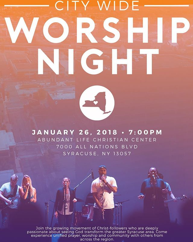 Our next city-wide night of prayer and worship is coming up quick! January 26, 2018 • Abundant Life Christian Center