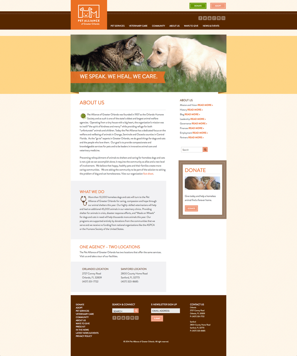 Pet Alliance of Greater Orlando About Us Page