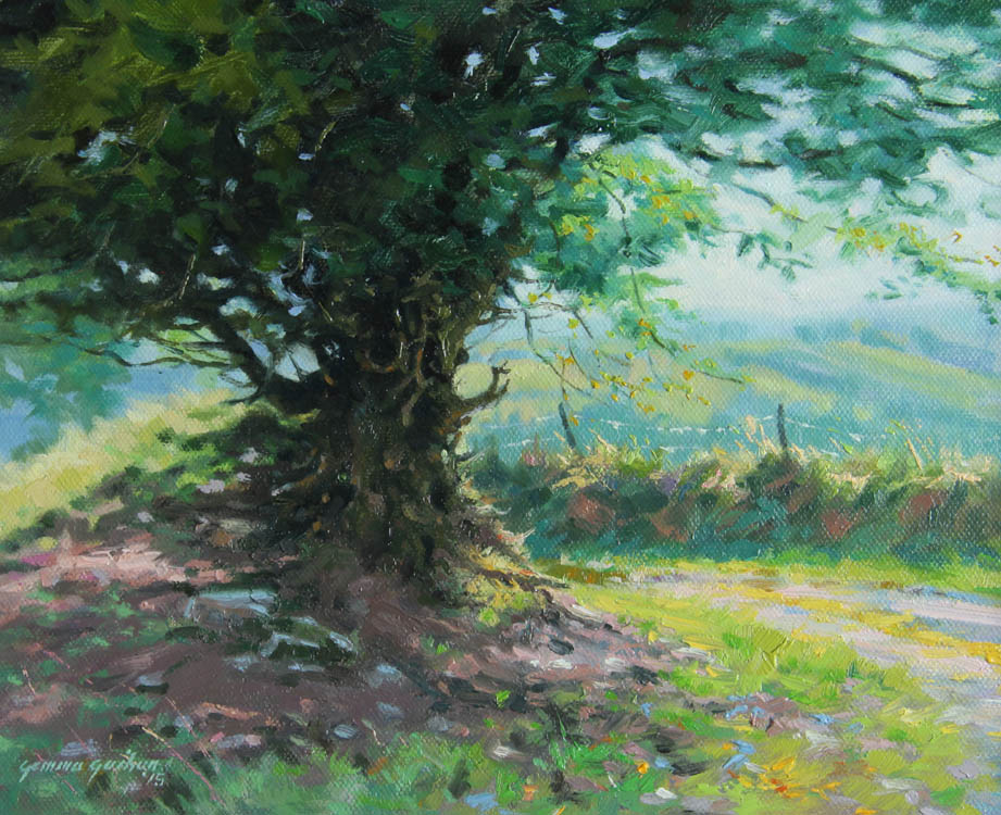 """Summer Lane""     Oil on Board    11"" x 9"""