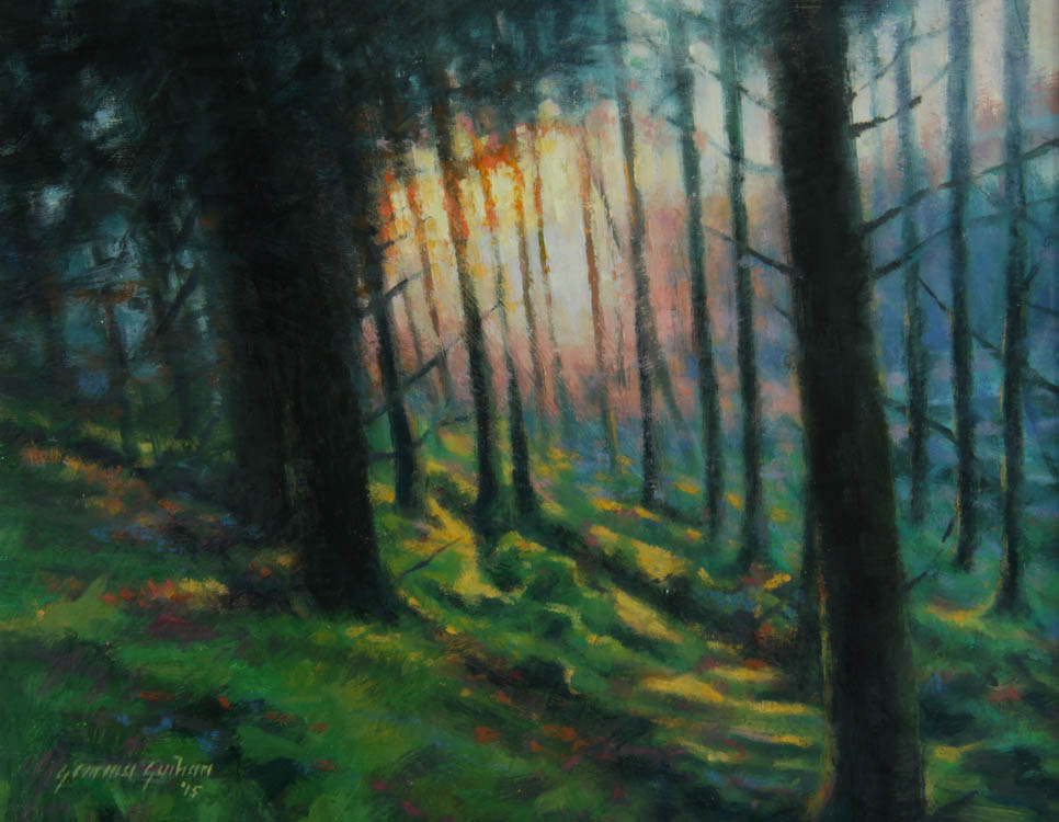 """Woodland Sunset""     Oil on Board    7"" x 9"""