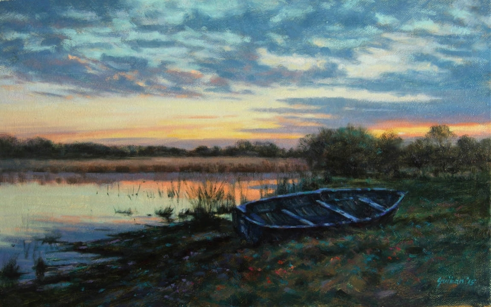 """April Sunset""     Oil on Canvas    10"" x 16"""
