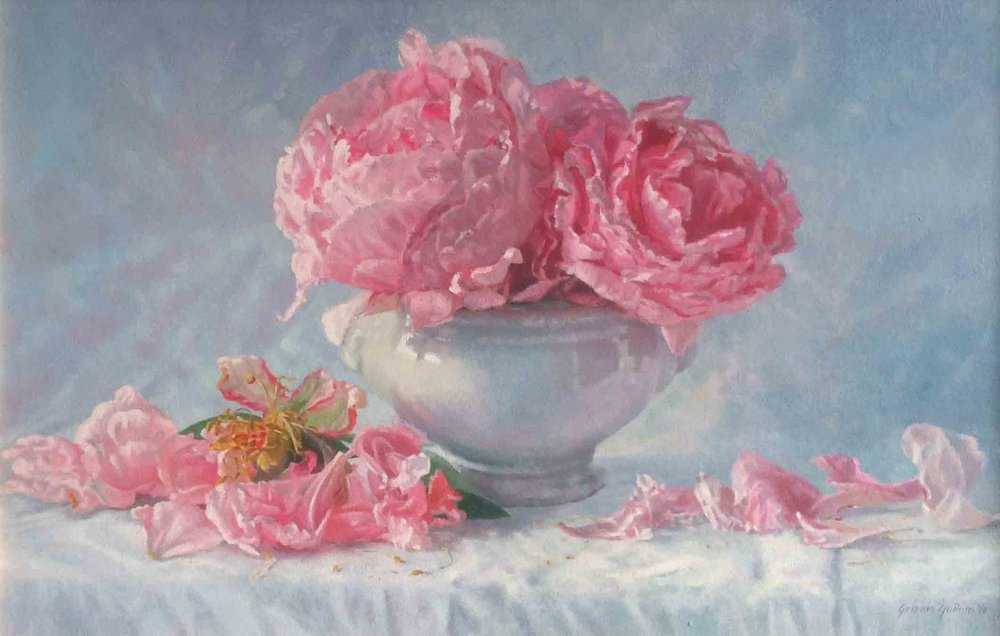 """Summer Peonies""                            Oil on Canvas                      14 ins x 22 ins"