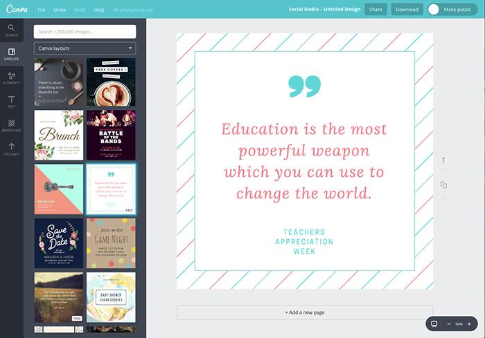 Canva ist ein Tool zur schnellen und mühelosen Erstellung von Social-Media-Grafiken