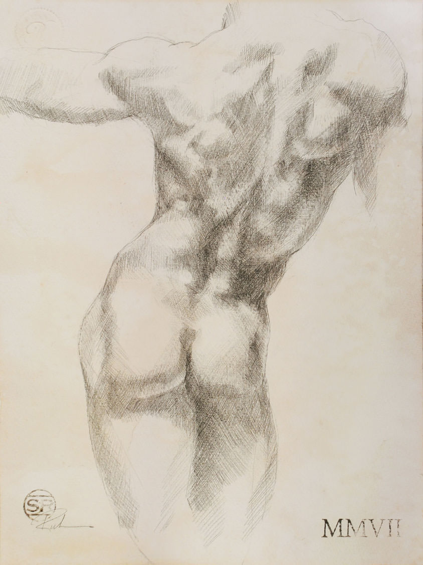 Study of Nude Male Back
