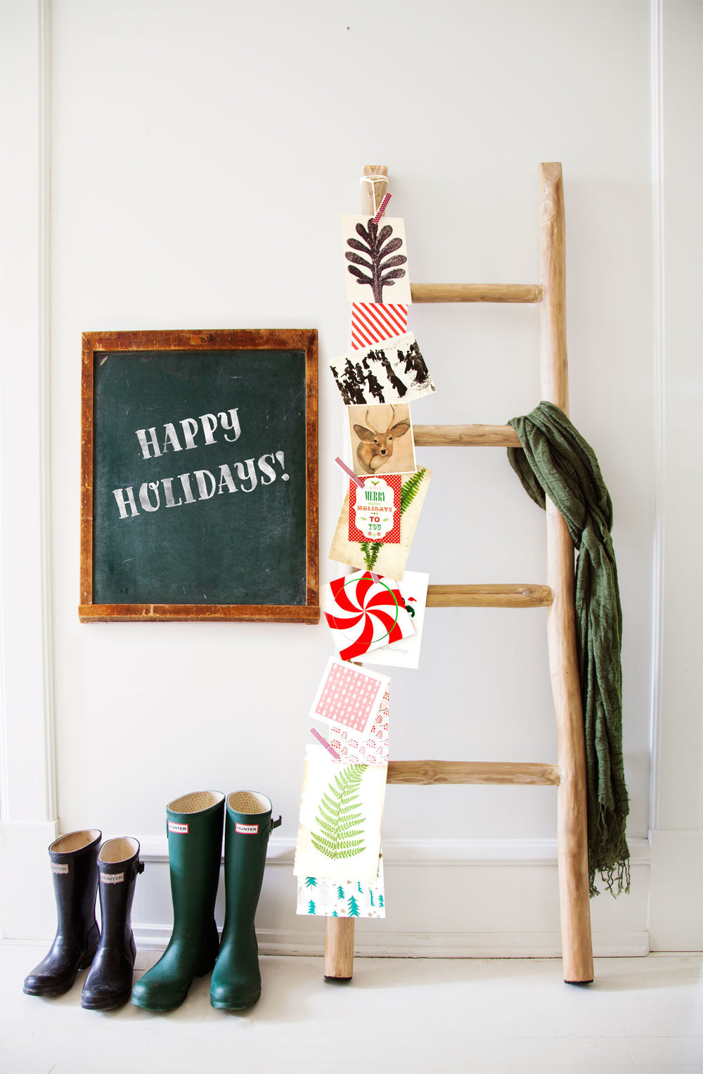 1) Use Holiday Cards as décor! Attach cards to a shelf, on string with laundry pins, to ladders or even in a tobacco basket to fill your kitchen, entry or living areas with cheer from those you love the most! They are already colorful and so festive! No need to add anything else! -