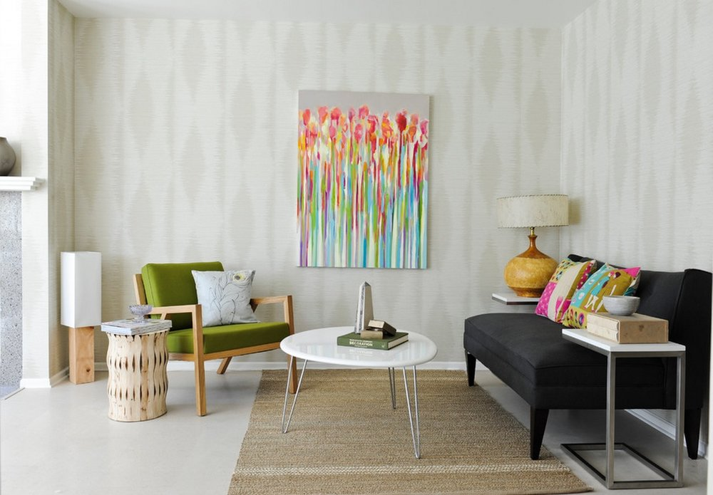 Bright colored furnishings. -