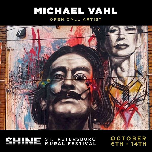 Your boi made it into #Shine this year and I'm about to bring some serious 🔥🔥🔥 hope to see my friends & Supporters out there while I'm working! More details on location coming soon! October 6th - 14th! #street #streetart #festival #portrait #porteaiture #thirdeye #dali #salvador #dali #dalimural #daliart #streetmural #grafitti #abstract #skulls #aztec #glaxy