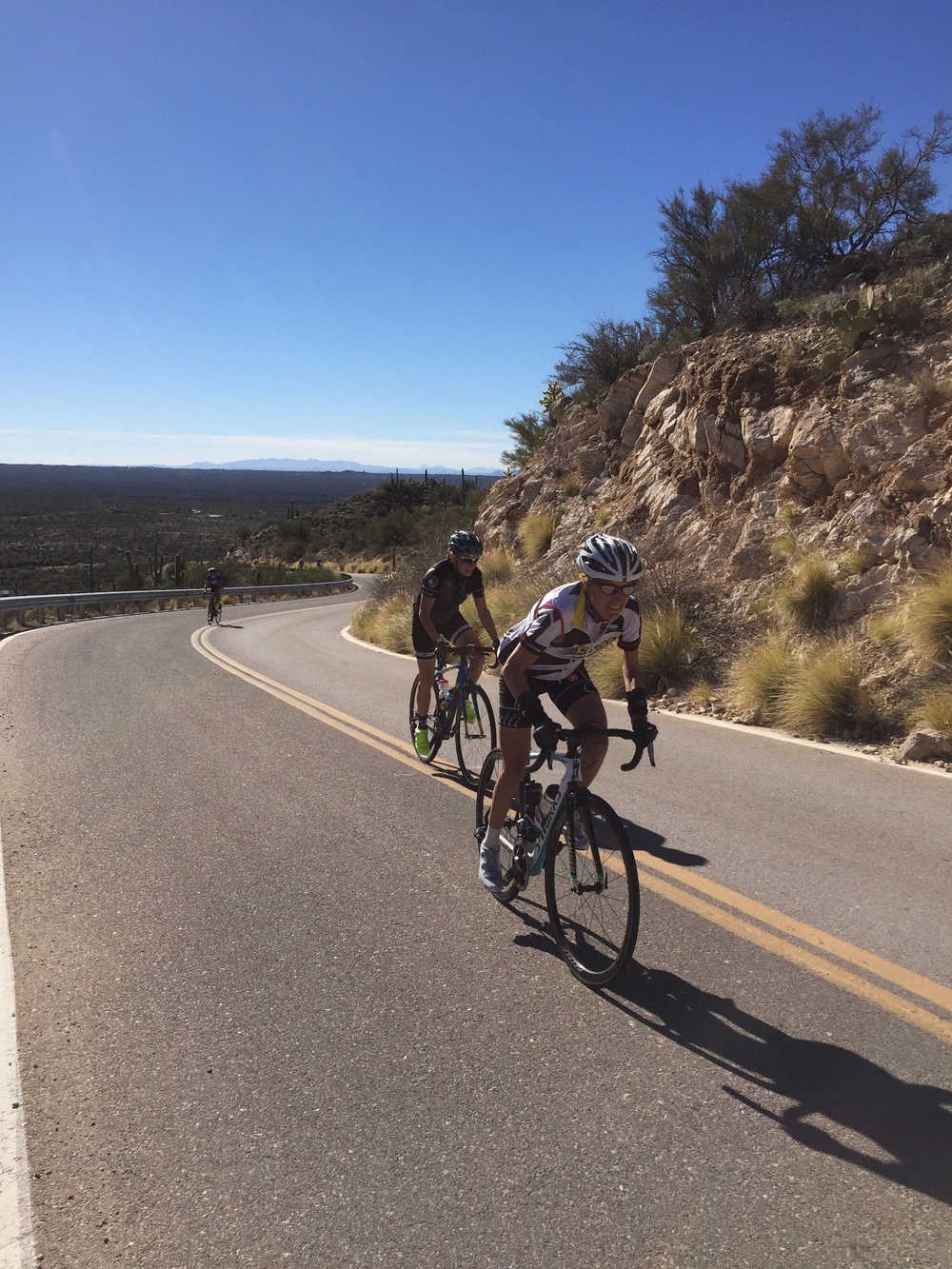 ALP Cycles Coaching Athletes Lynne Anderson and Jill Cederholm-Mairs beat the heat at our Tucson camp this past winter.