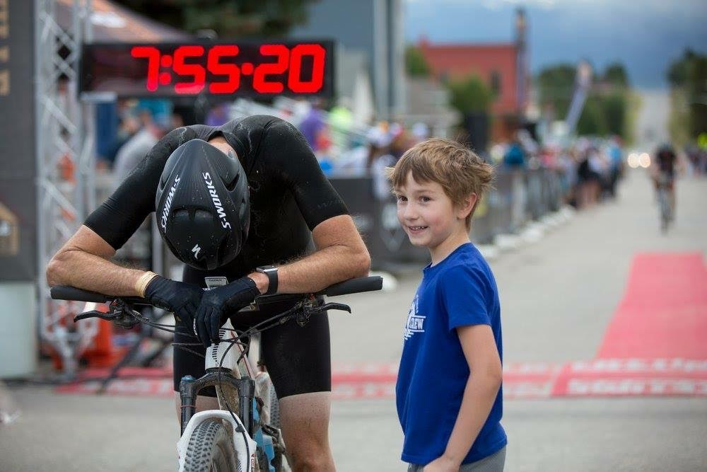 ALP Athelte Asier at the finish of the Leadville 100 with his son by his side. Asier gave it his all.