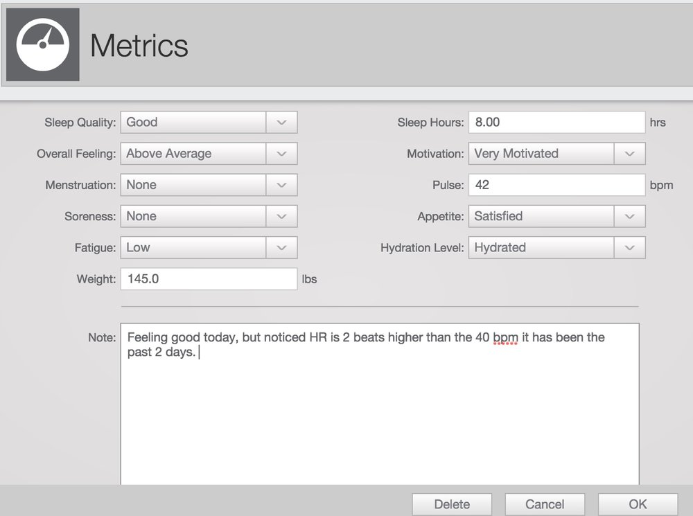 Metrics located in TrainingPeaks are a great way to track various markers that paint a clearer picture for your coach.