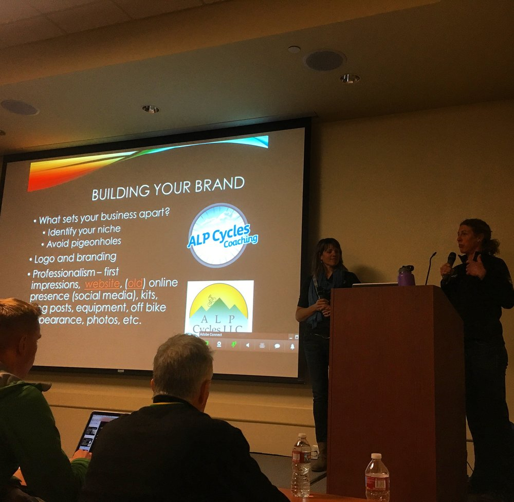 Jennifer and Alison during their presentation at USA Cycling
