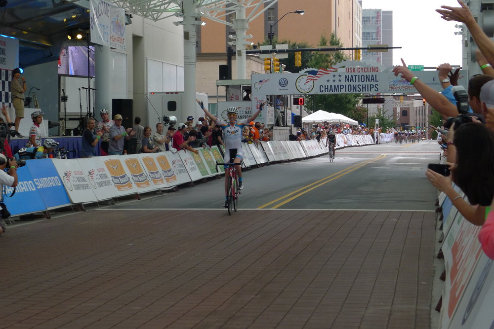 In 2013, I won the Criterium National Championship out of a 2-person breakaway