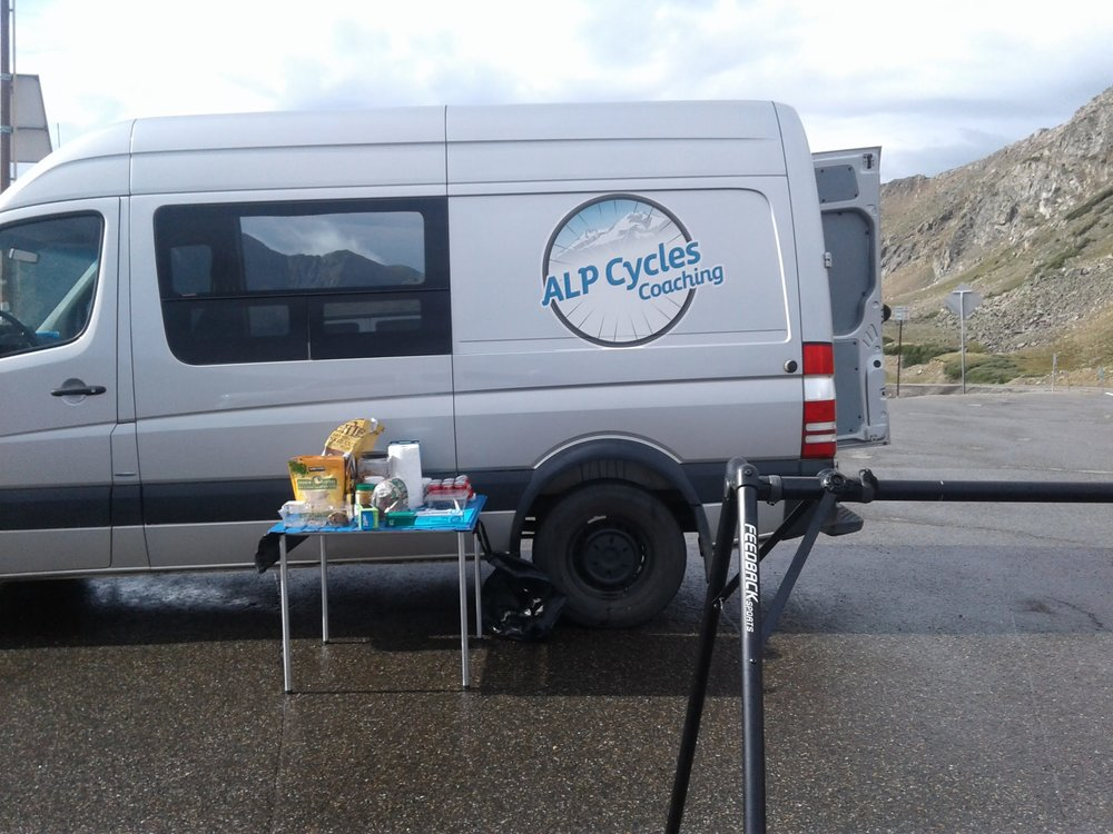 Each day we set up 2 to 3 van stops with snacks, ride food, water, NBS drinkmix etc