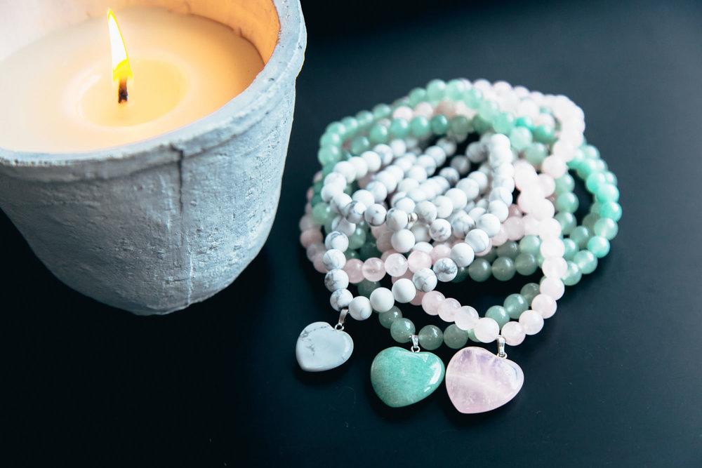 collier mala howlite, aventurine, quartz rose