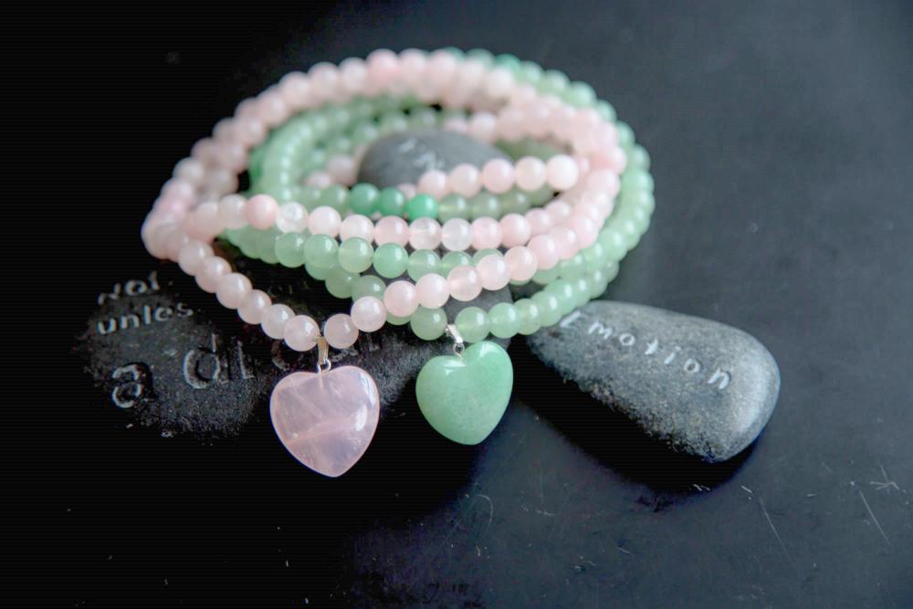 collier mala quartz rose et aventurine