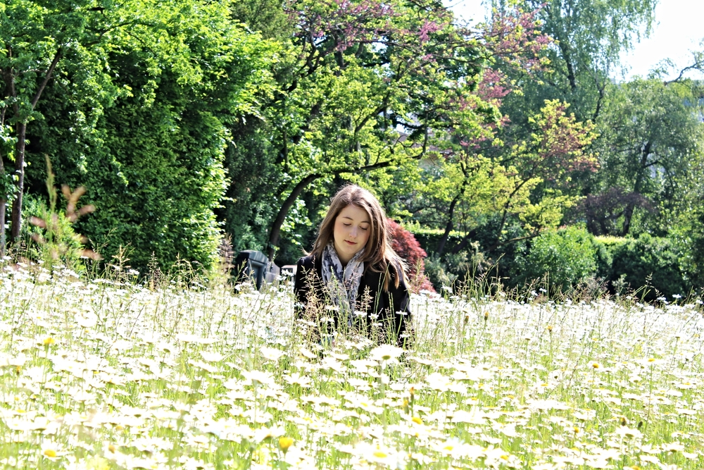 In a field of daisies in Switzerland.