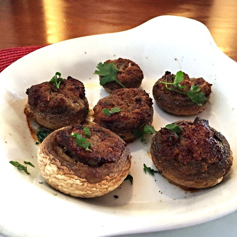 Stuffed mushrooms with Portuguese sausage