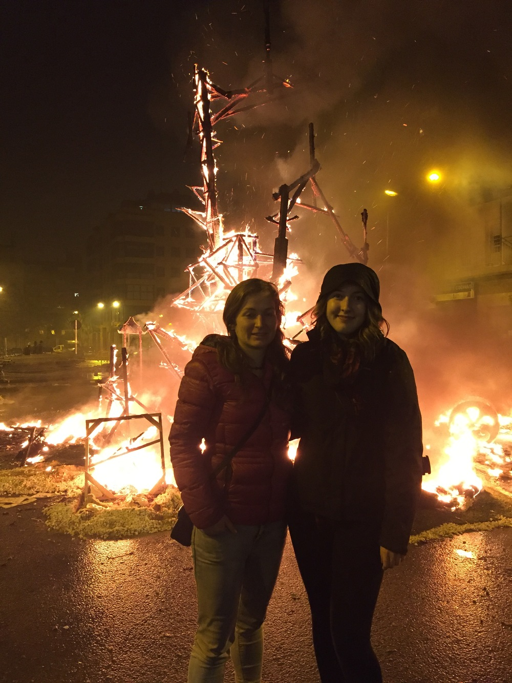 Standing with Juli after math of the Fallas characters burned