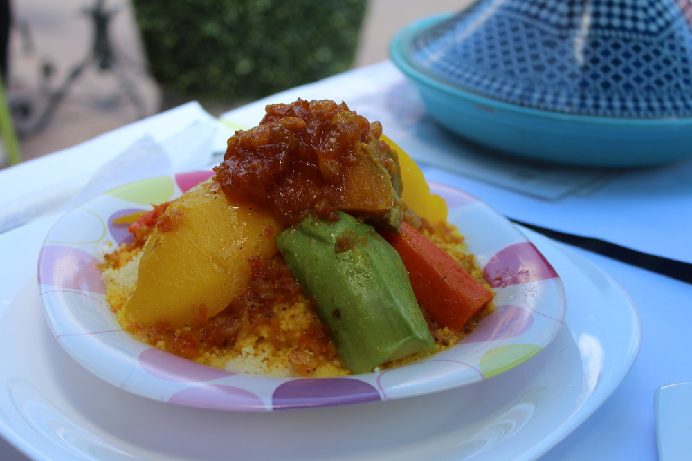 Traditional moroccan couscous, potatoes, veggies and a sweet/sour sauce. Amazing.