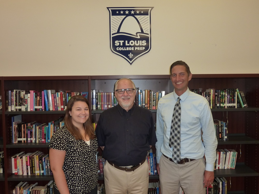 For Pete's Sake recently awarded St. Louis College Prep a $10,000 grant to improve curriculum in science and math classes. Pictured are, from left, St. Louis College Prep Principal Lauren Fleischer, For Pete's Sake Board of Directors Vice Chair Dennis Cope, and St. Louis College Prep Executive Director Mike Malone.