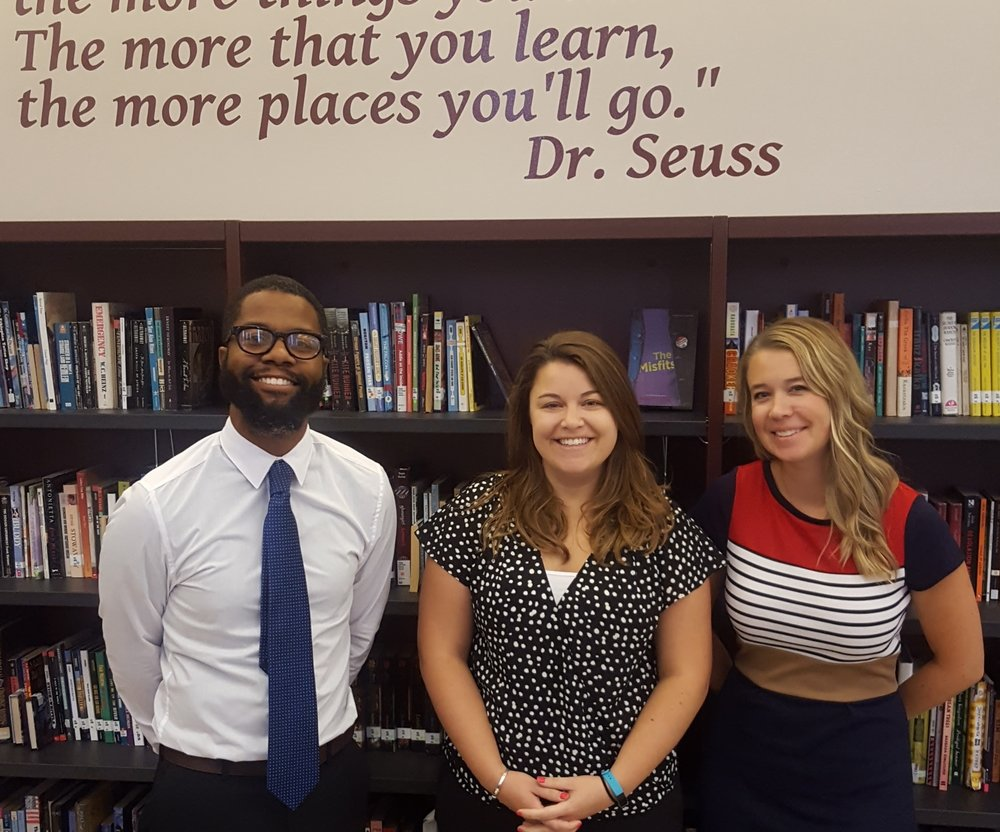 Pictured are St. Louis College Prep Dean of Students Terrell Borum, Principal Lauren Fleischer, and Director of Curriculum and Instruction Erin Ellinger.