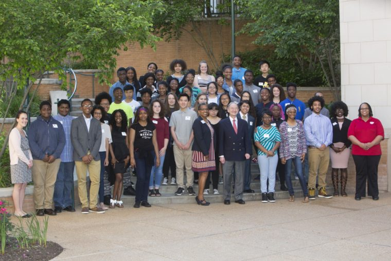 The fourth cohort of the Washington University College Prep Program meets with Chancellor Mark S. Wrighton and College Prep staff at the Student & Family Orientation day May 13 on the South 40 area of campus. ( Photo: Jerry Naunheim Jr./Washington University)