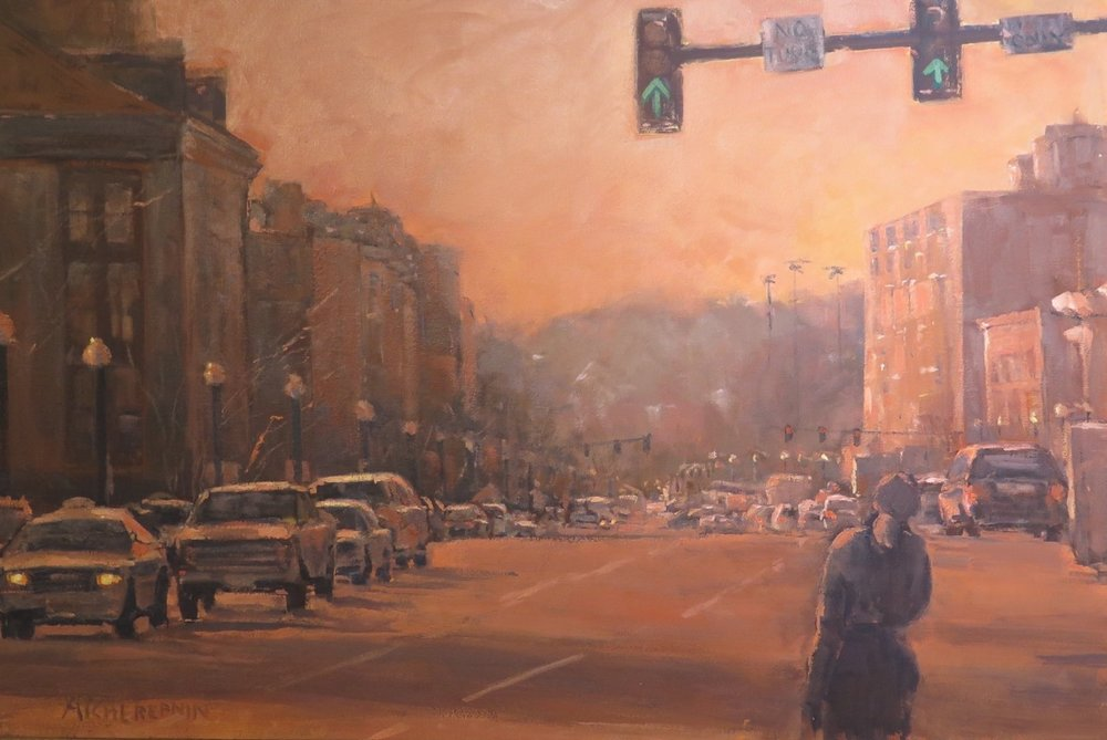 "Oil/Acrylic First Place  Ann Tcherepnin ""Down Washington Street"""
