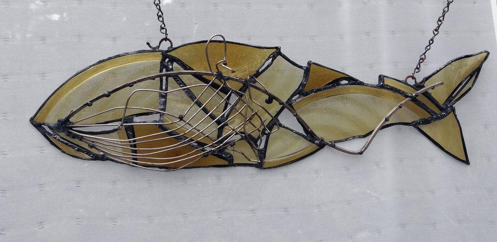 01Mahan-Amber Fish 8x20 repurposed glass and metals.jpg