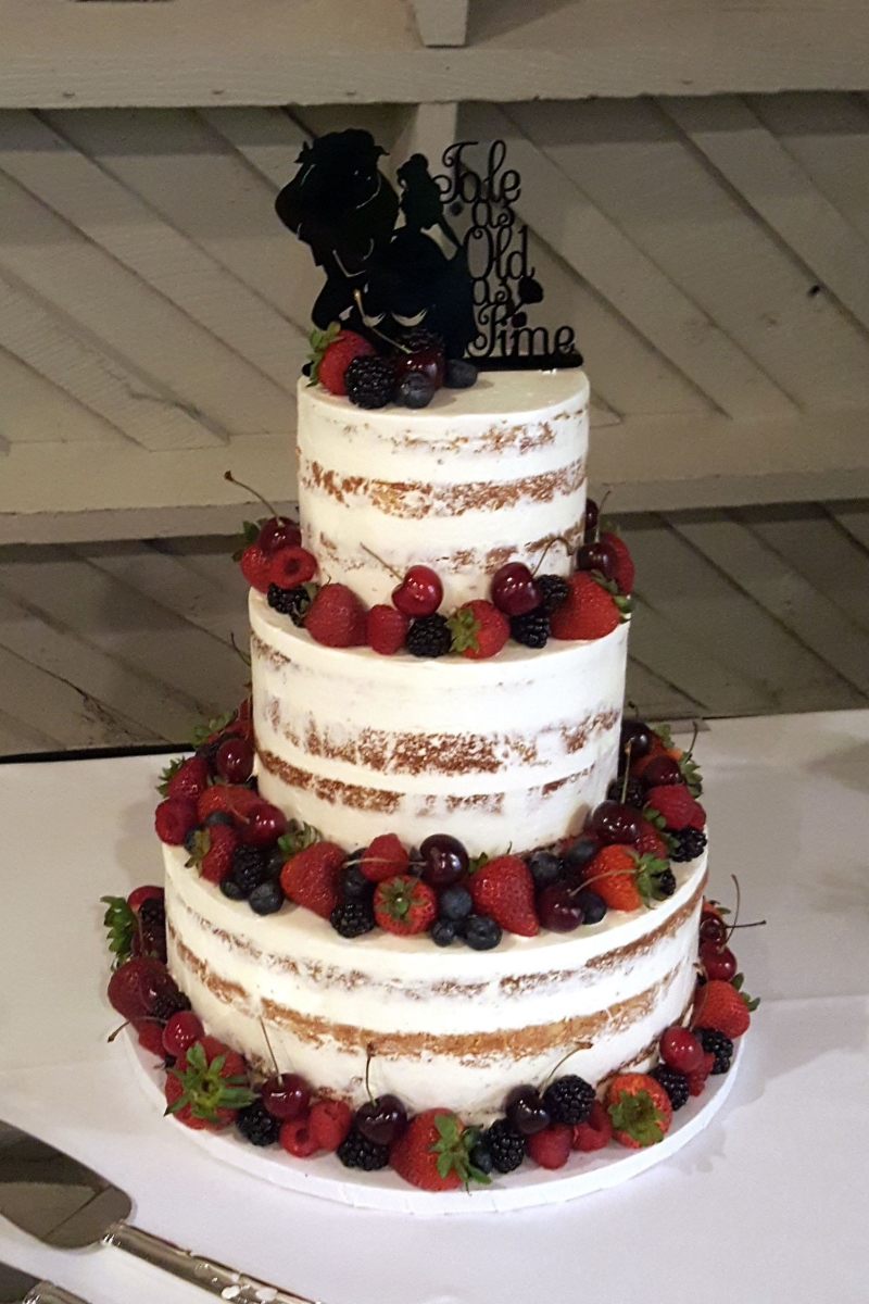 Mountain Lake Lodge Semi Naked Wedding Cake Fresh Baked Wedding
