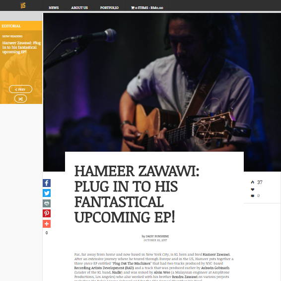 "HAMEER ZAWAWI: PLUG IN TO HIS FANTASTICAL UPCOMING EP! - Far, far away from home and now based in New York City; is KL born and bred Hameer Zawawi. After an extensive journey where he toured through Europe and in the US, Hameer puts together a three-piece EP entitled ""Plug Out The Machines"" that had two tracks.."