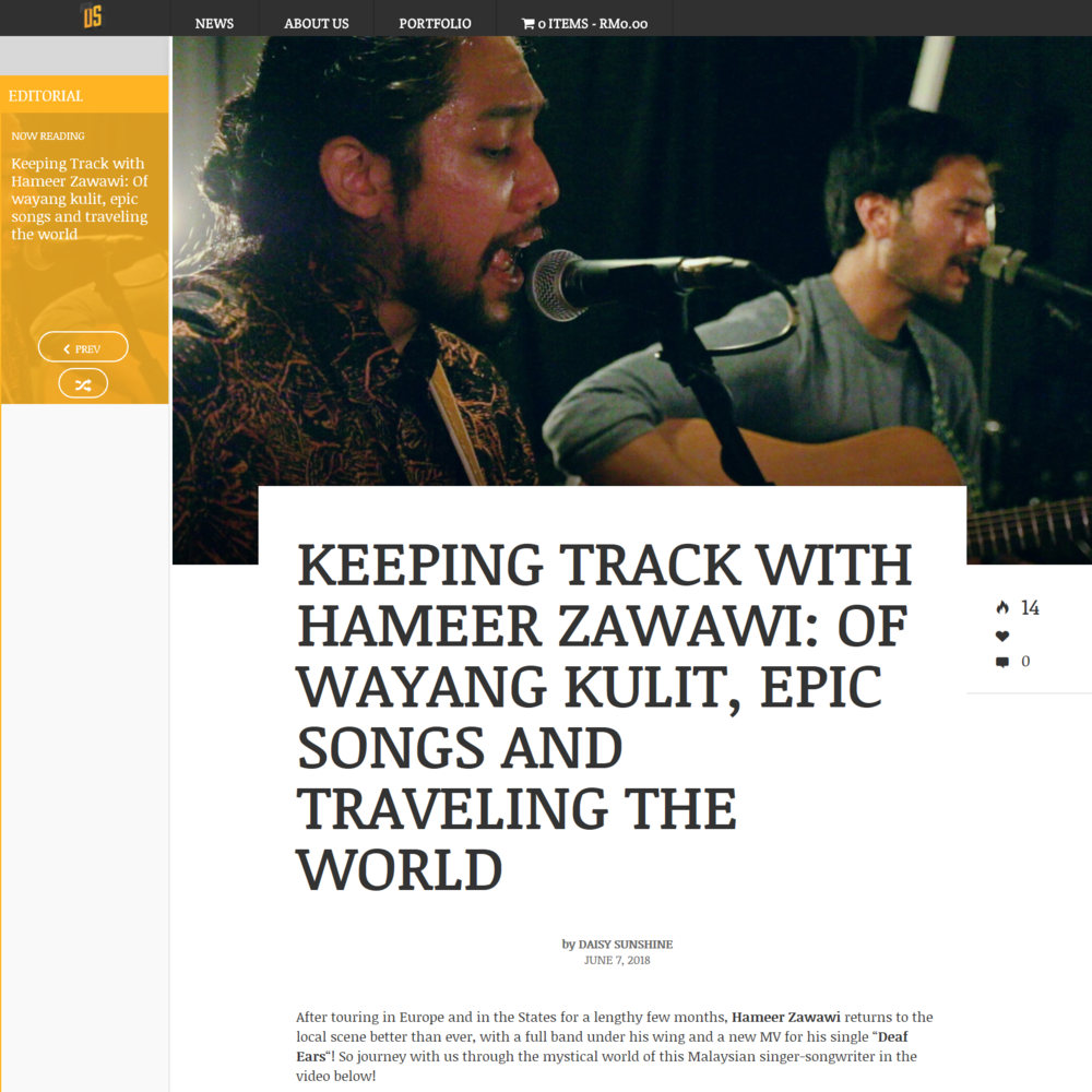 "KEEPING TRACK WITH HAMEER ZAWAWI: OF WAYANG KULIT, EPIC SONGS AND TRAVELING THE WORLD (KUALA LUMPUR) - AFTER touring in Europe and in the States for a lengthy few months, Hameer Zawawi returns to the local scene better than ever, with a full band under his wing and a new MV for his single ""Deaf Ears""! So journey with us through the mystical world of this Malaysian singer-songwriter in the video below!"