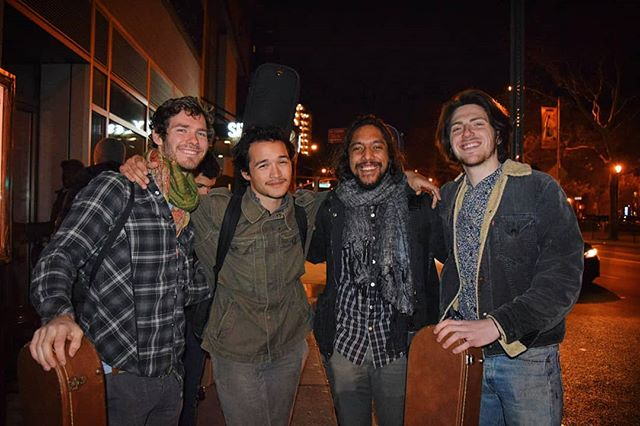 Today marks an exact year since our first show together as a band in #NYC. Couldn't have asked for a more #serendipitous bunch of random friends to have shared this journey with. In just a year we've toured #NewYorkCity, #Boston, #Malaysia and #Cambodia.  Much love and thanks to @alexhjohnson, @deerjawboneidonefoundinthebay and @emiledms for taking part in this random musical project. A huge thank you to everybody who have also supported us in this endeavor. Lets celebrate with #Malaysian food tonight! . . . [📸 by @girlinink] #singersongwriter #music #usa #kualalumpur #phnompenh #plugoutthemachines #brothers #anniversary #band #friends #airbnb #openmic #serendipity