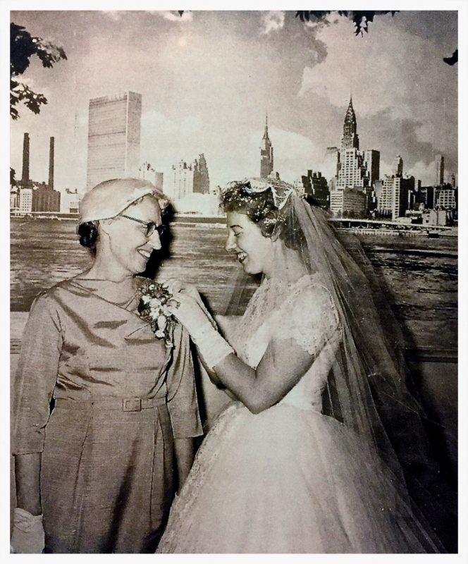 """PearlY"" and her Mother on her wedding day, June 28, 1958. A Pearl of wisdom for you, ""grace must be applied when in our humanity we waver, weaken, stagger, or stumble."" -Grandma Pearl"