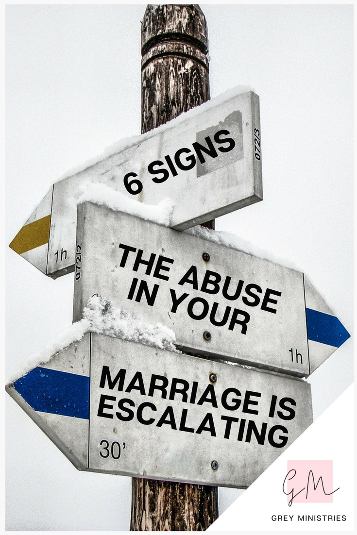 One of the real dangers of staying in an abusive marriage is that abuse escalates. Boundaries are nudged, pushed and eventually outright challenged until you find yourself submitting to abuse that would once be unthinkable. Start to get help for an abusive marriage by knowing the signs! Click to read more or PIN for later!