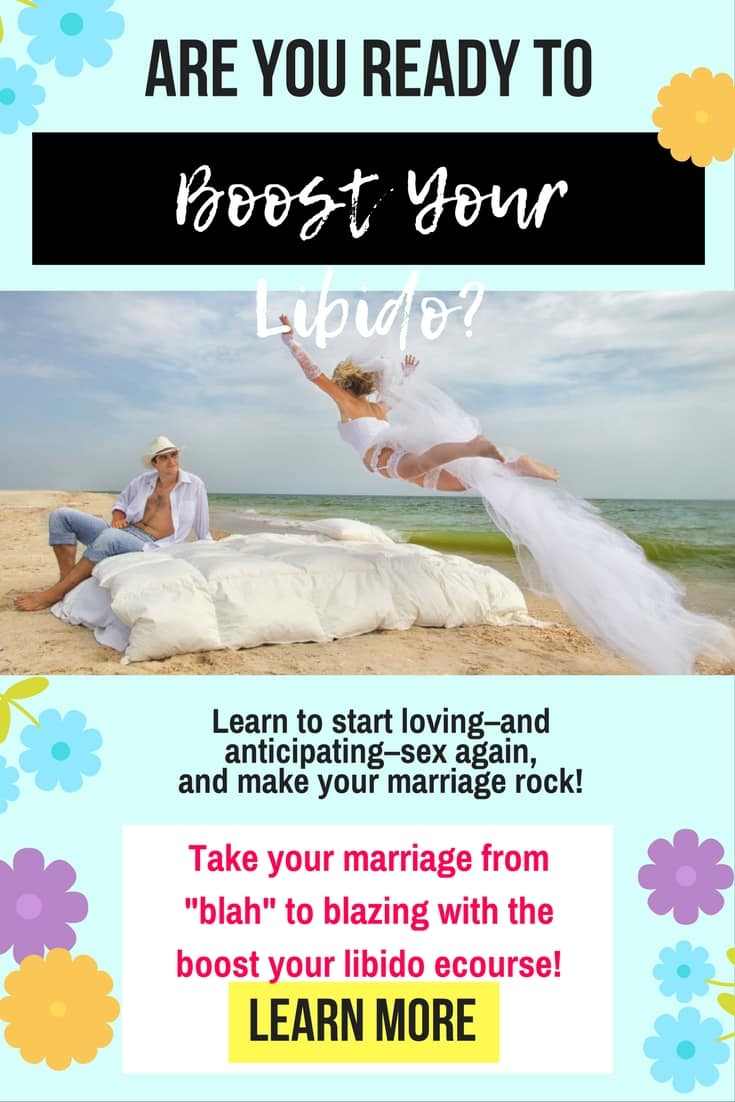 "Would you like to boost your libido? How would you like to enjoy hvaing sex with your husband again? Does sex not feel good anymore? For the Christian woman who has lost all confidence in the bedroom, take your marriage to the next level in Sheila Wray Gregoire's ""Boos your Libido"" ecourse! God made sex to be FUN! Let's start enjoying it again :)  http://sheilawraygregoire.thinkific.com/courses/boost-your-libido?ref=896ae9"