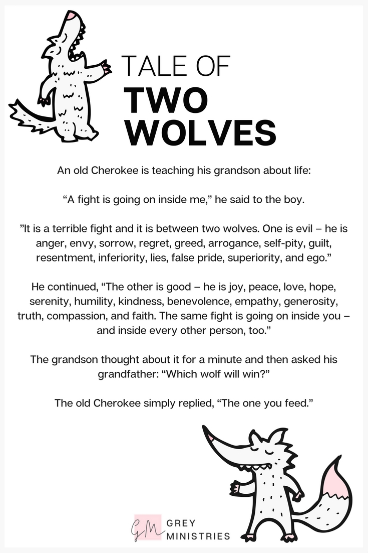 """An old Cherokee is teaching his grandson about life. 'A fight is going on inside me,' he said to the boy. 'It is a terrible fight, and it is between two wolves...'"" Apply this popular folklore tale to your life in this blog post by Grey Ministries, for women with loved ones who struggle with addiction and rebuilding relationships in addiction recovery. Based on Christian principles and boundaries!"