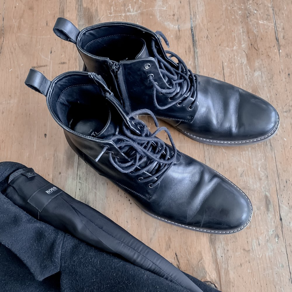 men's wool jacket and leather boots