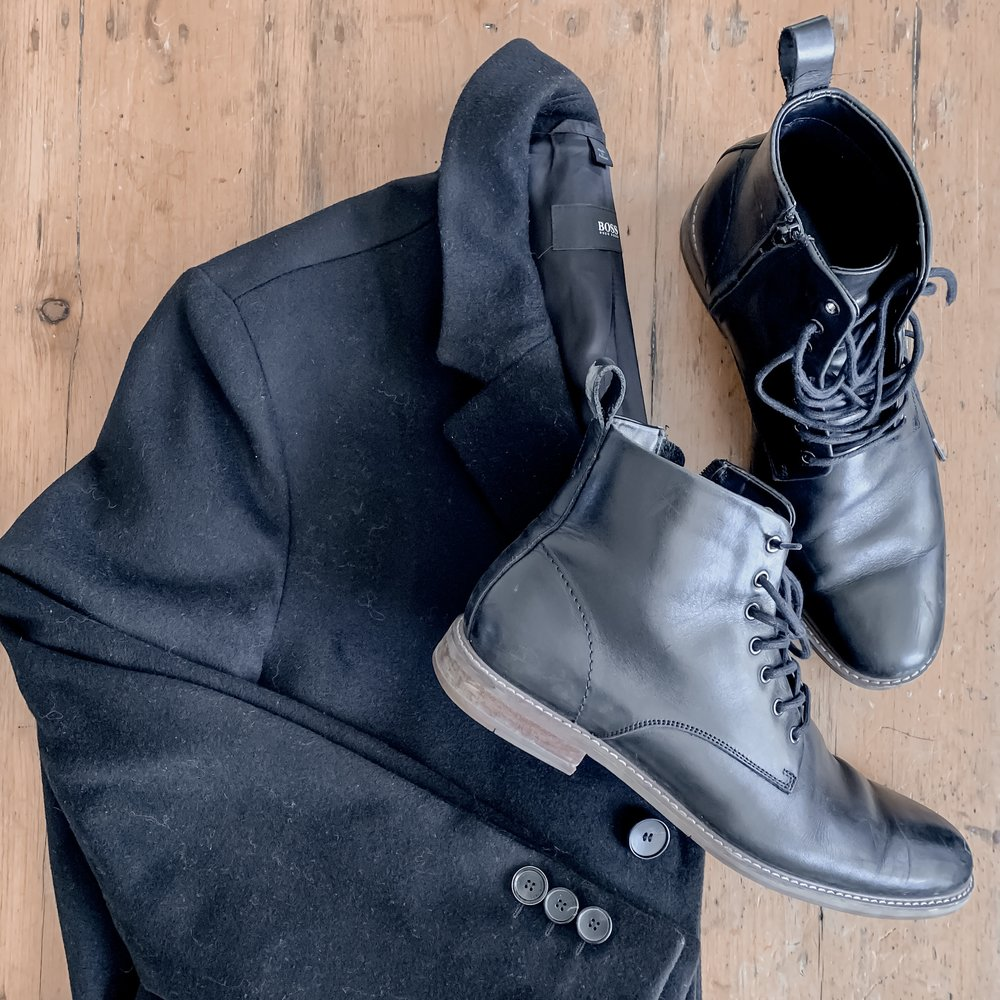 men;s capsule wardrobe, hugo boss coat and men's leather boots