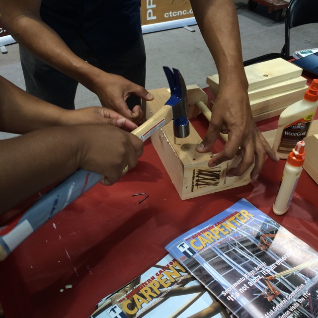 Building birdhouses with the Carpenters Training Committee of Northern California.