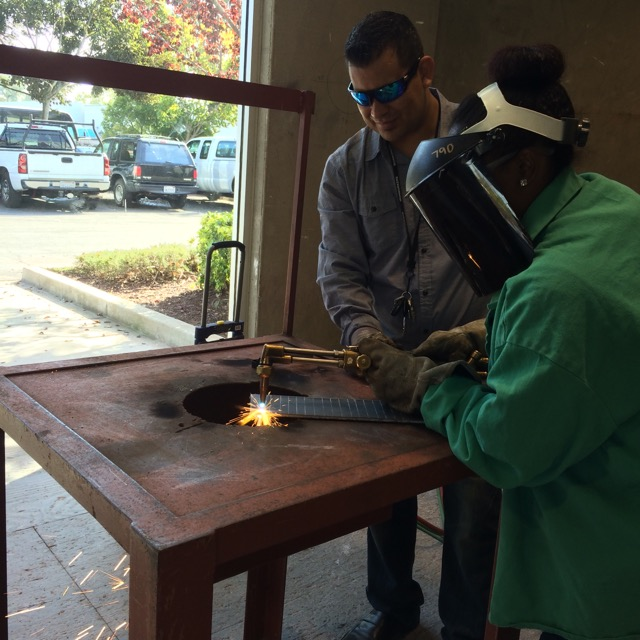 Practicing welding with the Northern California Shop Ironworkers.