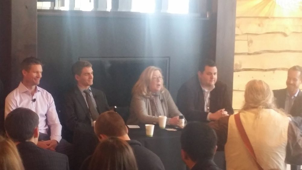 GCG's Nick Brait speaks on a Colorado Cannabis Symposium panel with legalization advocates Meg Collins,                                                          Mason Tvert, and Myles Rockwell.