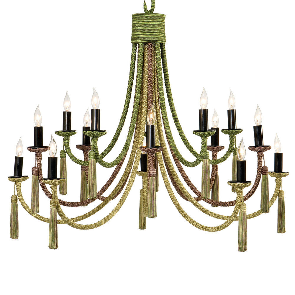 Passementerie passy grand chandelier hlne aumont from an elaborate cap fifteen arms descend at three staggered heights and depths alternating in colors cording under the bobche is shaped in traditional arubaitofo Choice Image