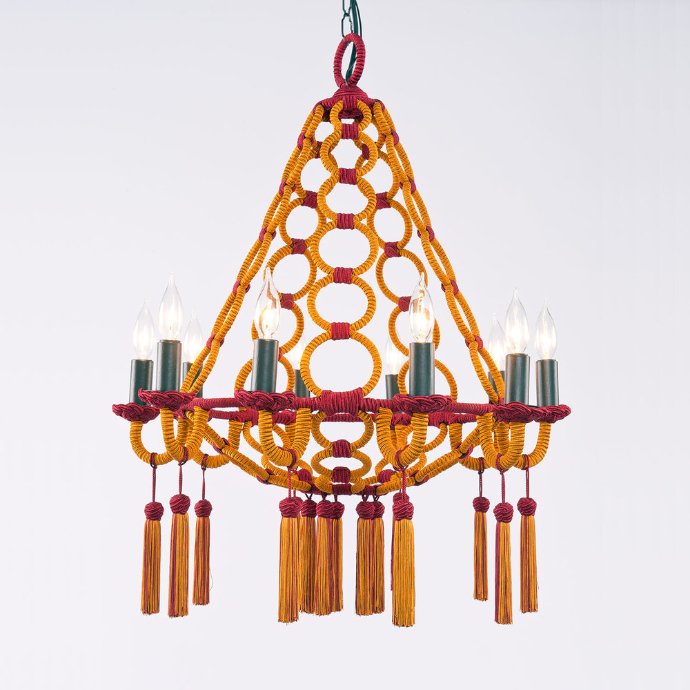 Passementerie opera chandelier hlne aumont inspired by our italian period domani bronze chandelier a ten armed wrought iron ice cream shape is wrapped with our silk cording arubaitofo Images