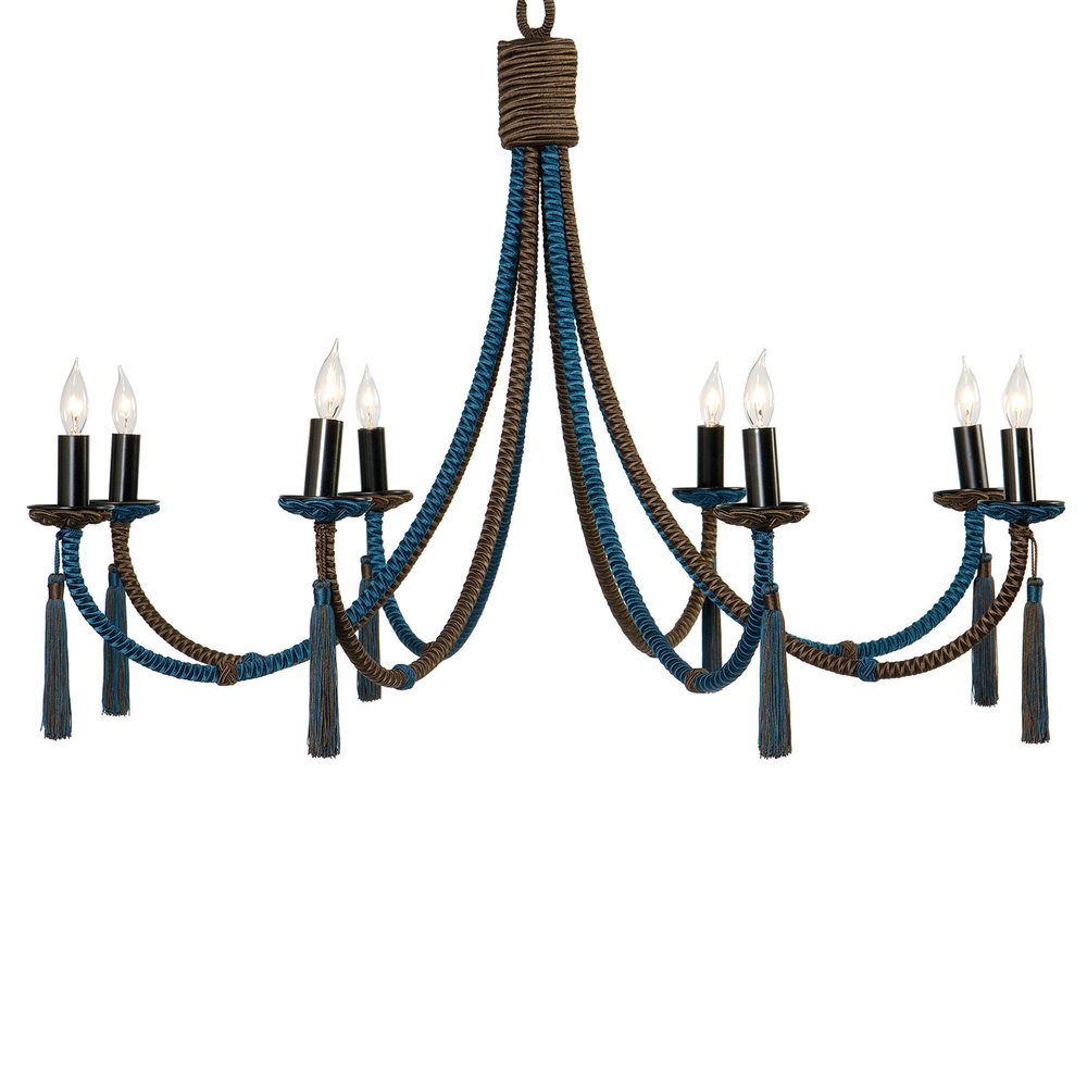 Passementerie passy petit chandelier hlne aumont wrought iron structure is wrapped with silk cording all eight arms extend uniformly from the center alternating in colors cording under the bobche is arubaitofo Choice Image