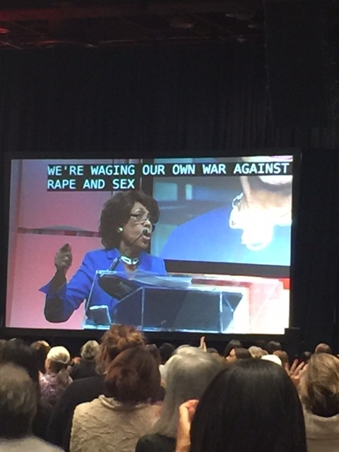 """We are waging our own war against rape and sexual assault!"" -- Congresswoman Maxine Waters"