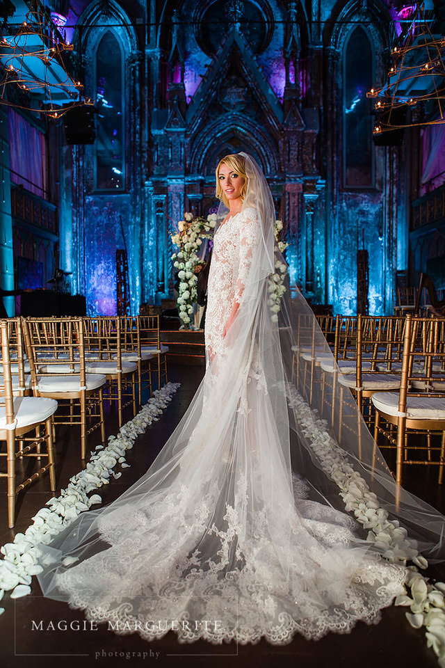 The bride wears Zuhair Murad