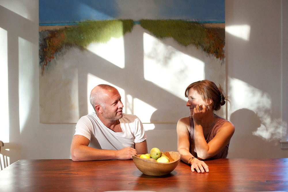Ellen Schiller, textile artist, pictured with husband Jeremy