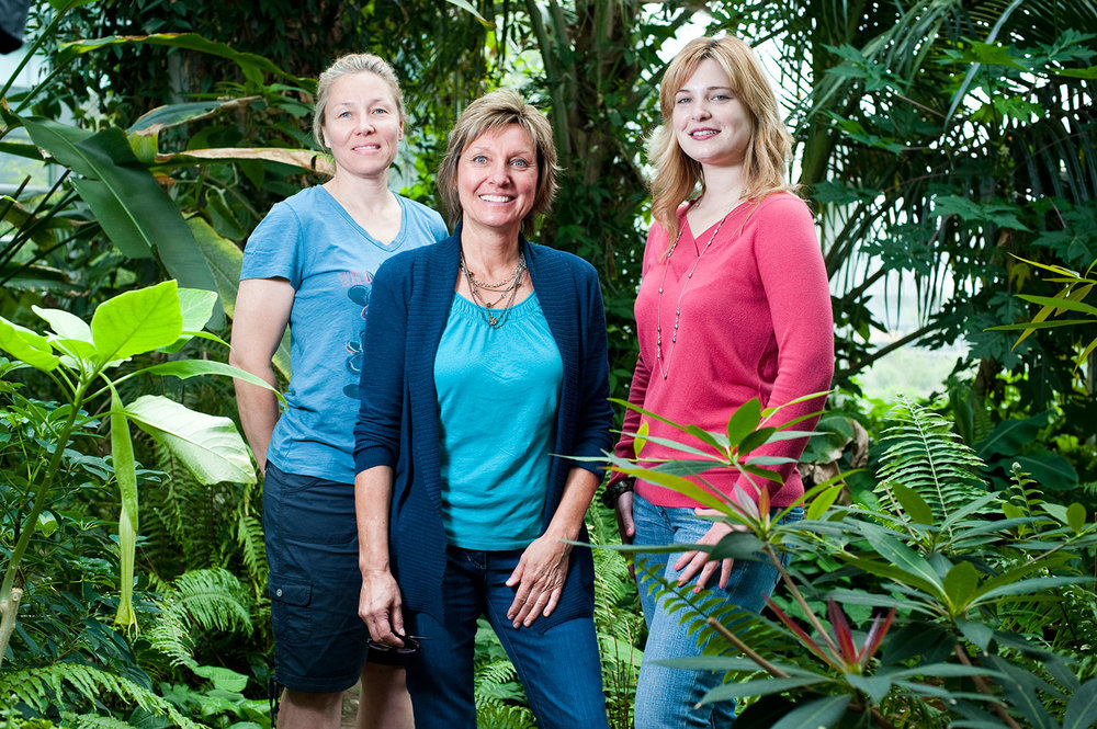 Staff at New England Biolabs, photographed inside the campus multi-story greenhouse