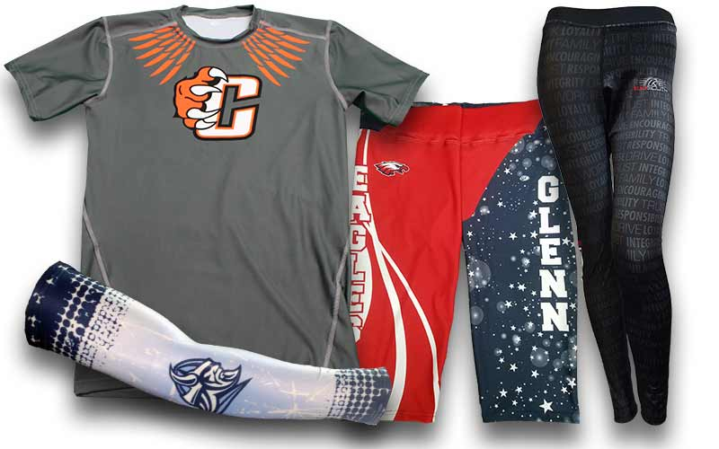 custom compression shirts  custom compression tops  custom compression shorts  custom tights  custom compression sleeves
